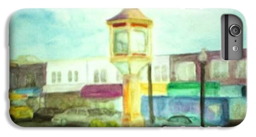 Clock IPhone 7 Plus Case featuring the painting Main Street by Sheila Mashaw
