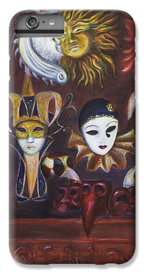 Masks IPhone 7 Plus Case featuring the painting Making Faces II by Nik Helbig