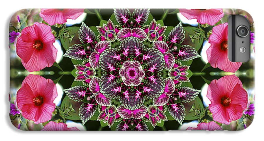 Mandala IPhone 7 Plus Case featuring the digital art Mandala Pink Patron by Nancy Griswold