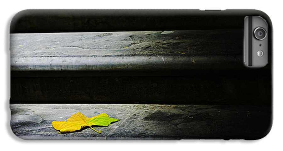 Maple Leaf IPhone 7 Plus Case featuring the photograph Maple Leaf On Step by Avalon Fine Art Photography