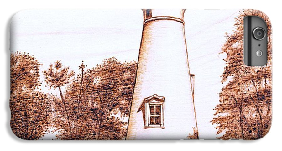 Lighthouse IPhone 7 Plus Case featuring the pyrography Marblehead Lighthouse by Danette Smith