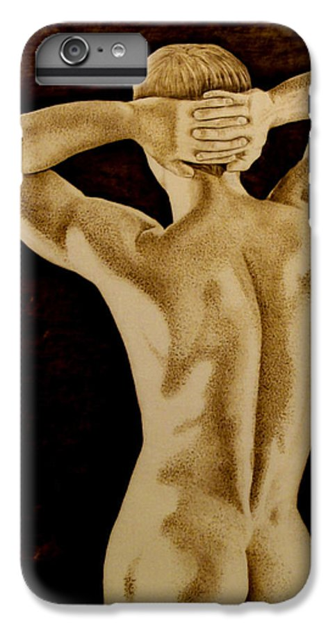 Pyrography; Sepia; Nude; Male; Back; Pointillism; Shadow; Hands; Naked; Muscles; IPhone 7 Plus Case featuring the pyrography Midnight Stretch by Jo Schwartz