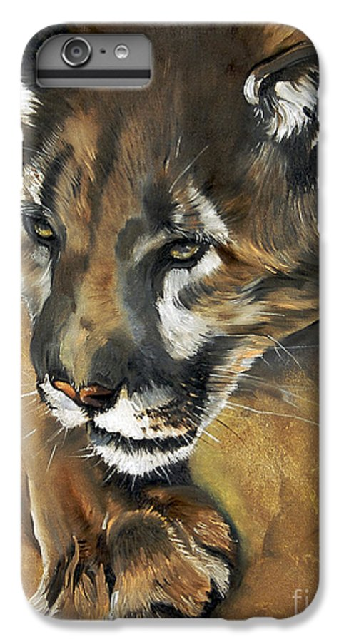 Southwest Art IPhone 7 Plus Case featuring the painting Mountain Lion - Guardian Of The North by J W Baker