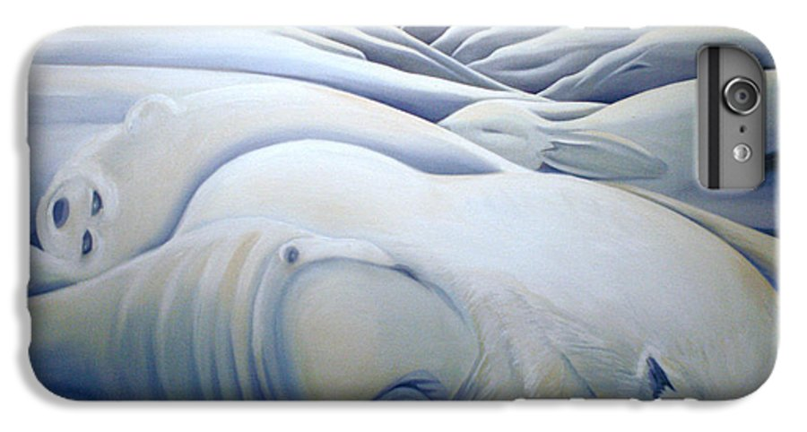 Mural IPhone 7 Plus Case featuring the painting Mural Winters Embracing Crevice by Nancy Griswold