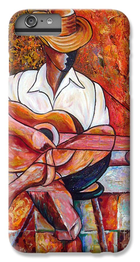 Cuba Art IPhone 7 Plus Case featuring the painting My Guitar by Jose Manuel Abraham