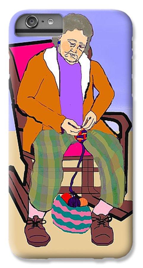 Grandmother IPhone 7 Plus Case featuring the digital art Nana Knitting by Pharris Art