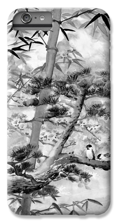 Black And White IPhone 7 Plus Case featuring the painting Nature by Eileen Fong
