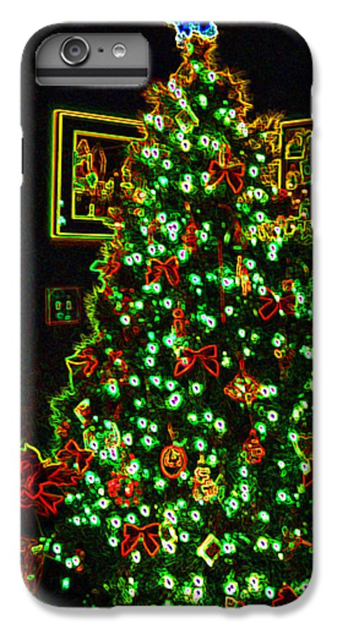 Christmas IPhone 7 Plus Case featuring the photograph Neon Christmas Tree by Nancy Mueller