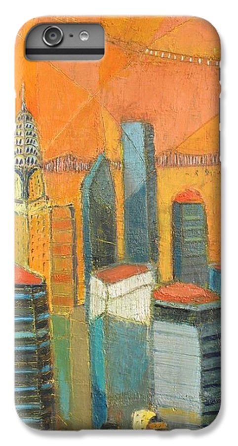 IPhone 7 Plus Case featuring the painting Nyc In Orange by Habib Ayat