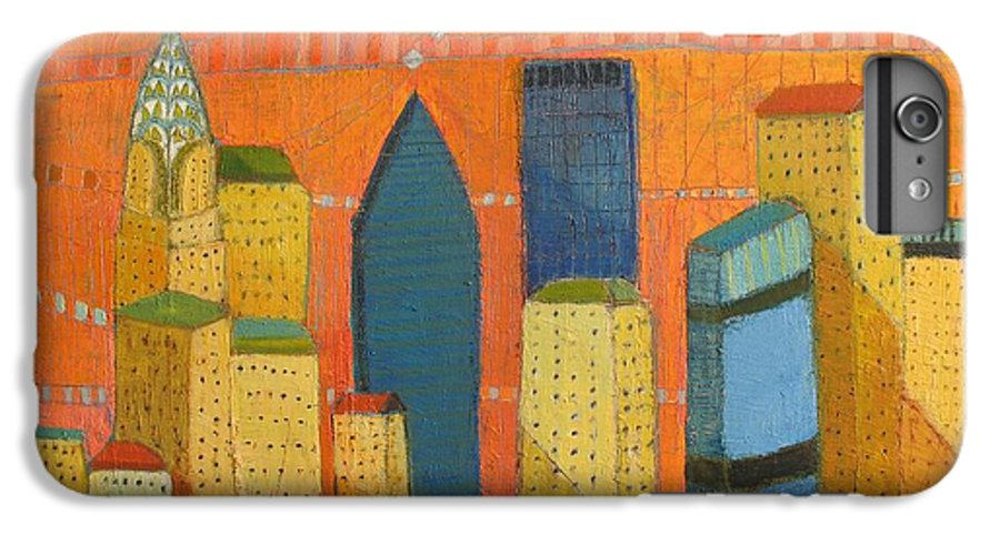 Abstract Cityscape IPhone 7 Plus Case featuring the painting Nyc With Chrysler by Habib Ayat