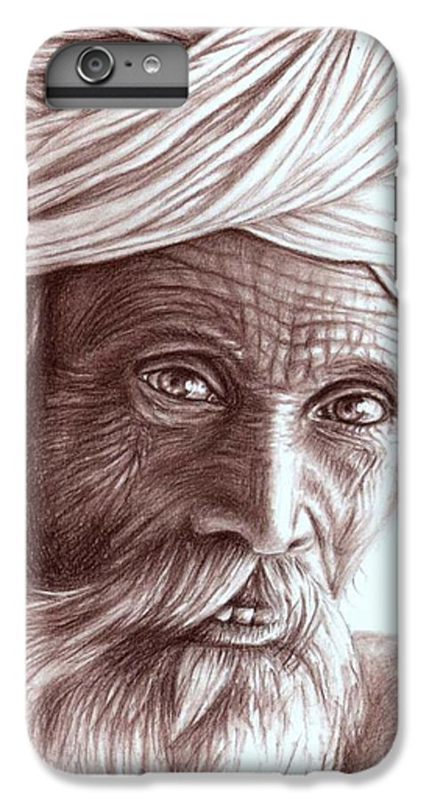 Man IPhone 7 Plus Case featuring the drawing Old Indian Man by Nicole Zeug