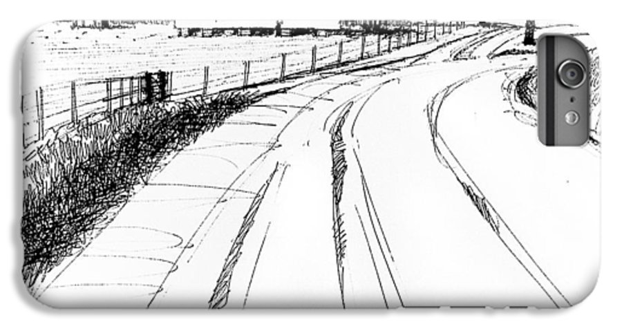 Landscape IPhone 7 Plus Case featuring the drawing On The County Line by Peter Muzyka