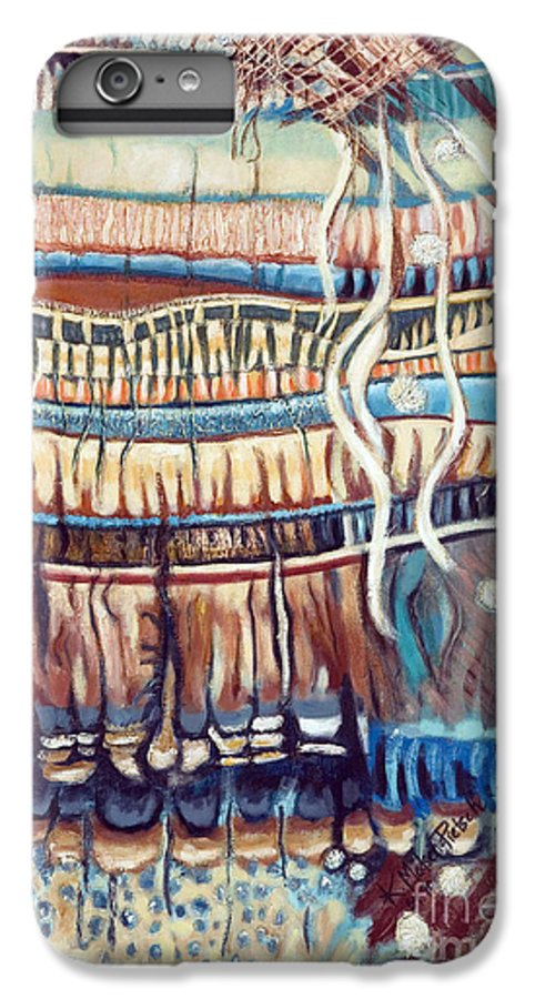 Abstract IPhone 7 Plus Case featuring the painting Palm Contractions by Kerryn Madsen-Pietsch