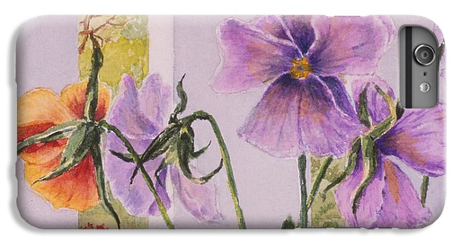 Florals IPhone 7 Plus Case featuring the painting Pansies On My Porch by Mary Ellen Mueller Legault