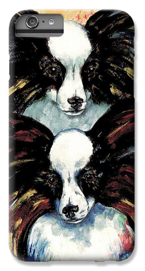 Papillon IPhone 7 Plus Case featuring the painting Papillon De Mardi Gras by Kathleen Sepulveda