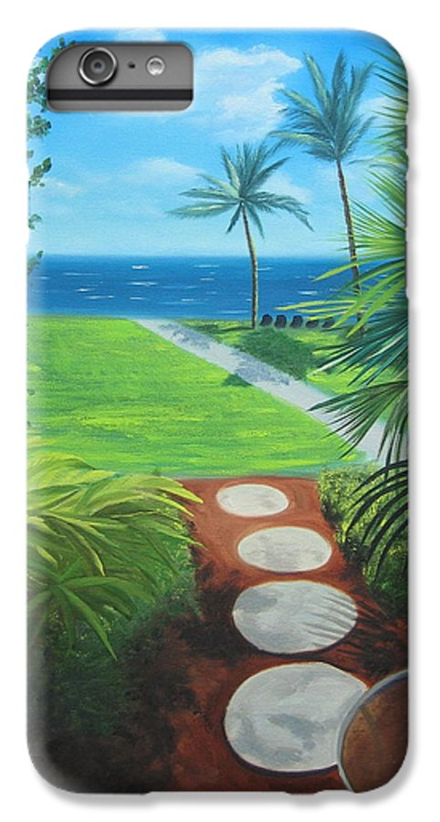 Seascape IPhone 7 Plus Case featuring the painting Paradise Beckons by Lea Novak