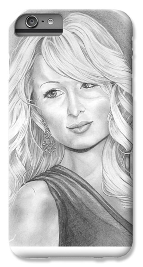 Portrait IPhone 7 Plus Case featuring the drawing Paris Hilton by Murphy Elliott