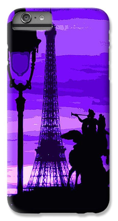 Paris IPhone 7 Plus Case featuring the photograph Paris Tour Eiffel Violet by Yuriy Shevchuk