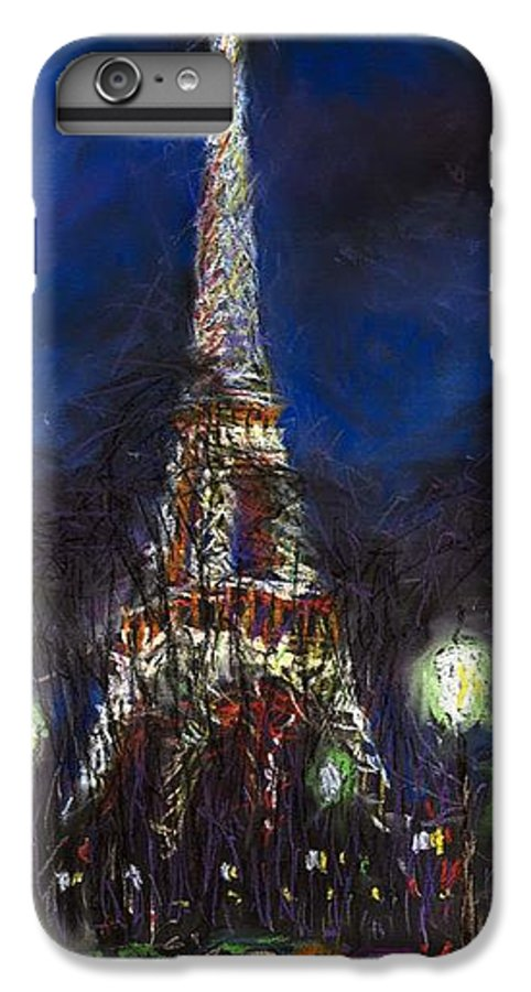Pastel IPhone 7 Plus Case featuring the painting Paris Tour Eiffel by Yuriy Shevchuk