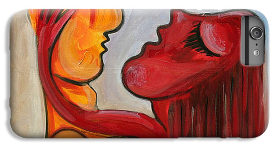 Abstract Oil On Canvas Picasso Yelow Red Love IPhone 7 Plus Case featuring the painting Pasion Serie 1 by Jorge Berlato