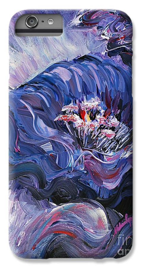 Blue IPhone 7 Plus Case featuring the painting Passion In Blue by Nadine Rippelmeyer