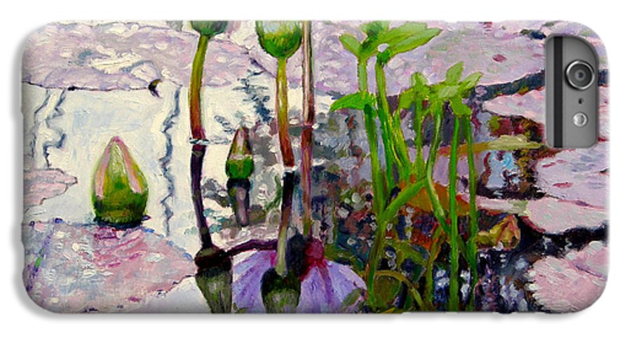 Water Lily Pond IPhone 7 Plus Case featuring the painting Pastel Light by John Lautermilch