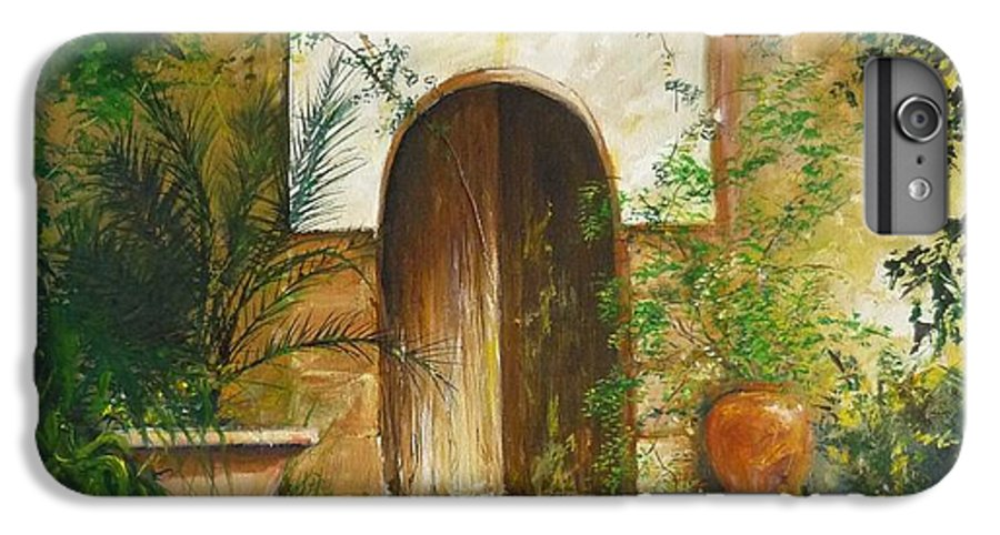 Farmhouse Courtyard IPhone 7 Plus Case featuring the painting Patio Mallorquin by Lizzy Forrester