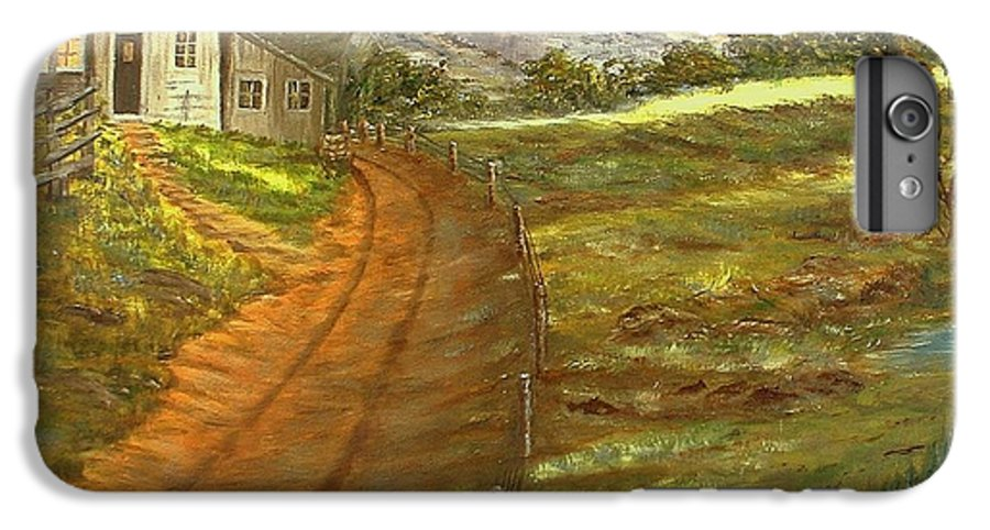 Landscape IPhone 7 Plus Case featuring the painting Peaceful Country by Kenneth LePoidevin