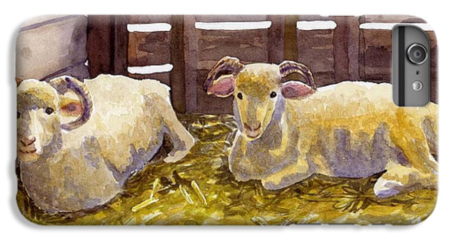 Sheep IPhone 7 Plus Case featuring the painting Pen Pals by Sharon E Allen