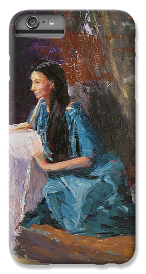 Sitting Woman IPhone 7 Plus Case featuring the painting Penelope by Irena Jablonski