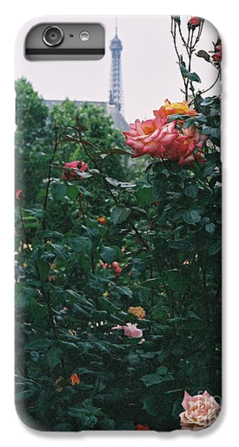 Roses IPhone 7 Plus Case featuring the photograph Pink Roses And The Eiffel Tower by Nadine Rippelmeyer