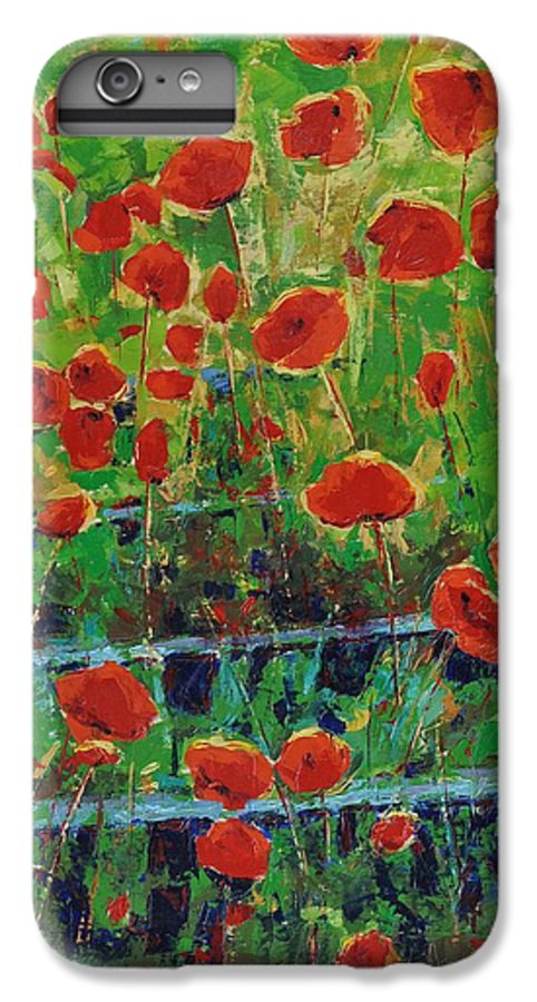 Poppies IPhone 7 Plus Case featuring the painting Poppies And Traverses 1 by Iliyan Bozhanov