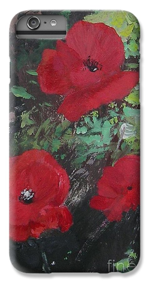 Red IPhone 7 Plus Case featuring the painting Poppies by Lizzy Forrester