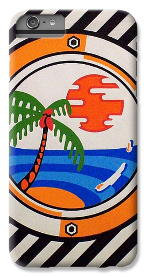 Palm Tree IPhone 7 Plus Case featuring the painting Porthole Paradise by Alan Hogan