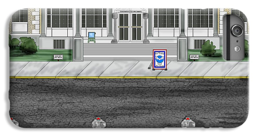 Townscape IPhone 7 Plus Case featuring the painting Post Office In Thermopolis by Anne Norskog