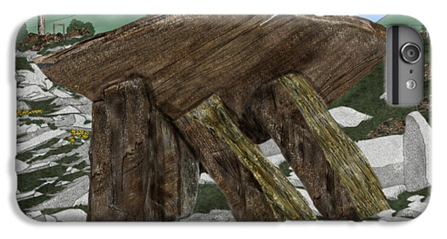 Landscape IPhone 7 Plus Case featuring the painting Poulnabrone Dolmen County Clare Ireland by Anne Norskog