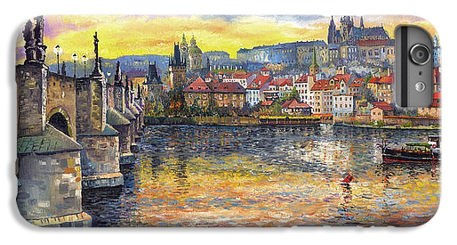 Oil On Canvas IPhone 7 Plus Case featuring the painting Prague Charles Bridge And Prague Castle With The Vltava River 1 by Yuriy Shevchuk