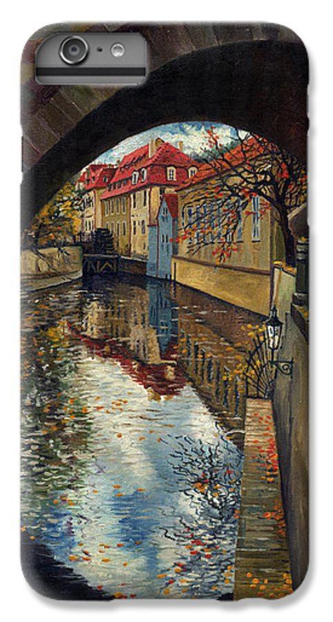 Oil IPhone 7 Plus Case featuring the painting Prague Chertovka 3 by Yuriy Shevchuk