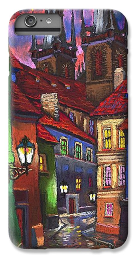 Pastel IPhone 7 Plus Case featuring the painting Prague Old Street 01 by Yuriy Shevchuk
