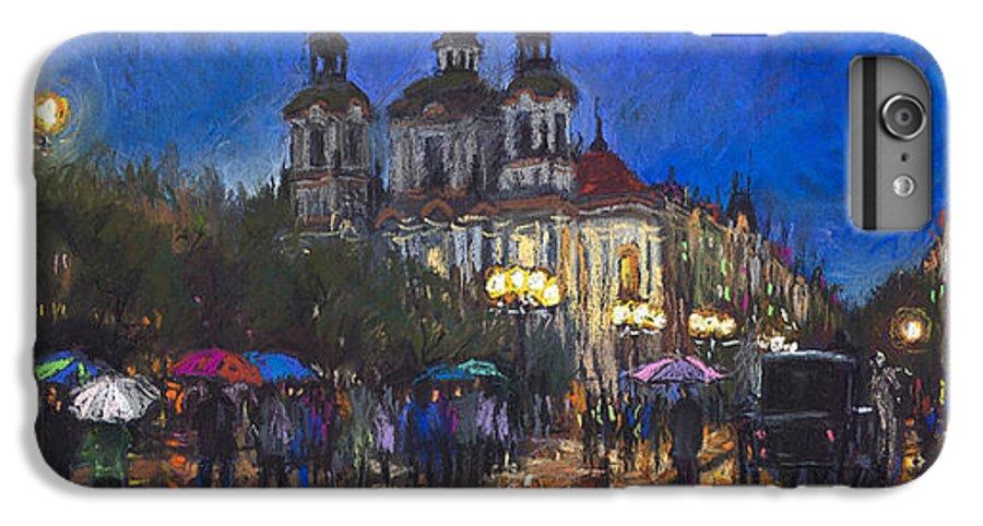 Prague IPhone 7 Plus Case featuring the pastel Prague Old Town Square St Nikolas Ch by Yuriy Shevchuk