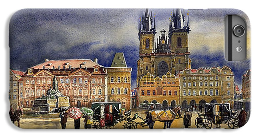 Watercolor IPhone 7 Plus Case featuring the painting Prague Old Town Squere After Rain by Yuriy Shevchuk