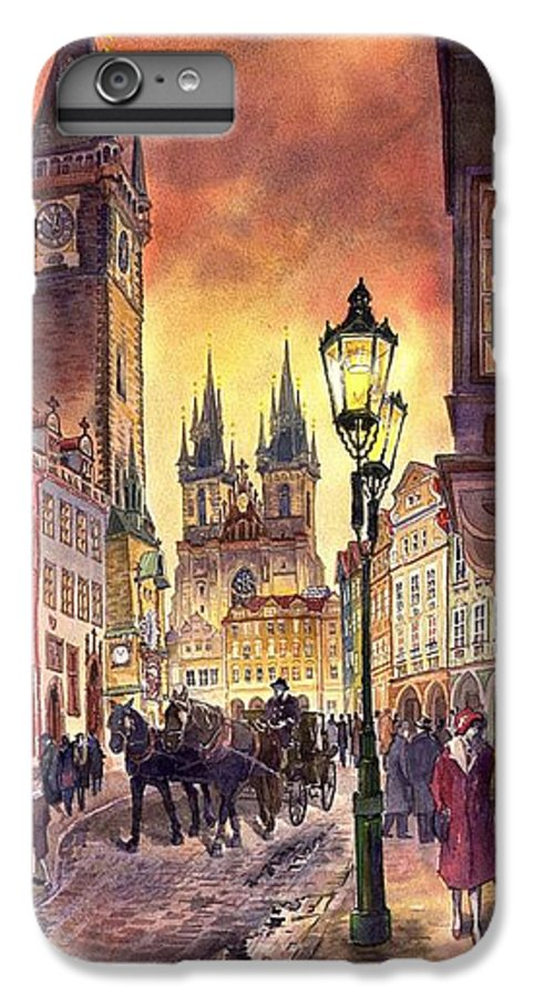 Cityscape IPhone 7 Plus Case featuring the painting Prague Old Town Squere by Yuriy Shevchuk