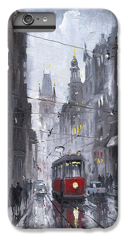 Oil On Canvas IPhone 7 Plus Case featuring the painting Prague Old Tram 03 by Yuriy Shevchuk