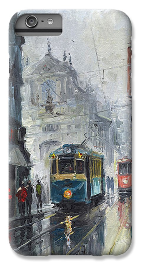 Oil On Canvas IPhone 7 Plus Case featuring the painting Prague Old Tram 04 by Yuriy Shevchuk