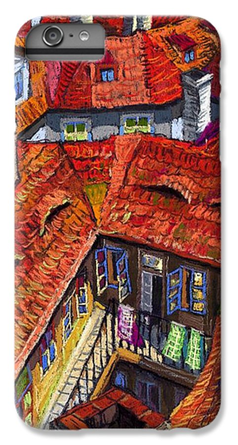 Pastel IPhone 7 Plus Case featuring the painting Prague Roofs 01 by Yuriy Shevchuk