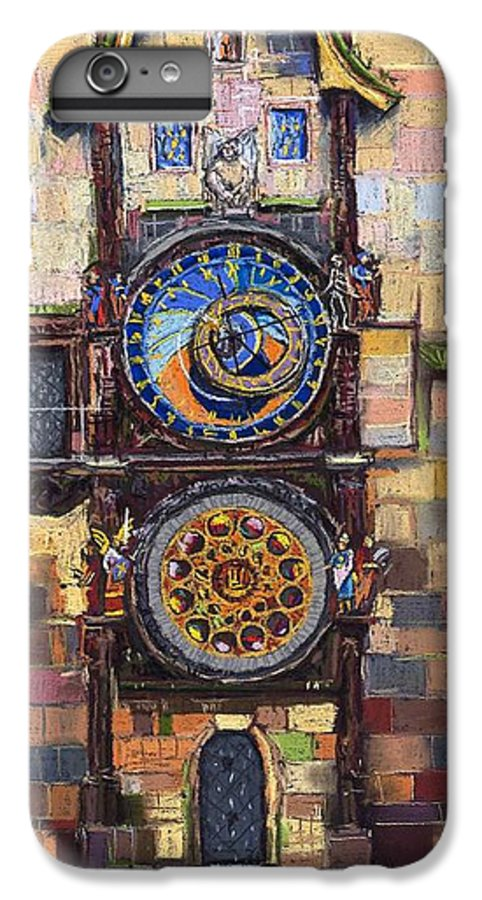 Cityscape IPhone 7 Plus Case featuring the painting Prague The Horologue At Oldtownhall by Yuriy Shevchuk