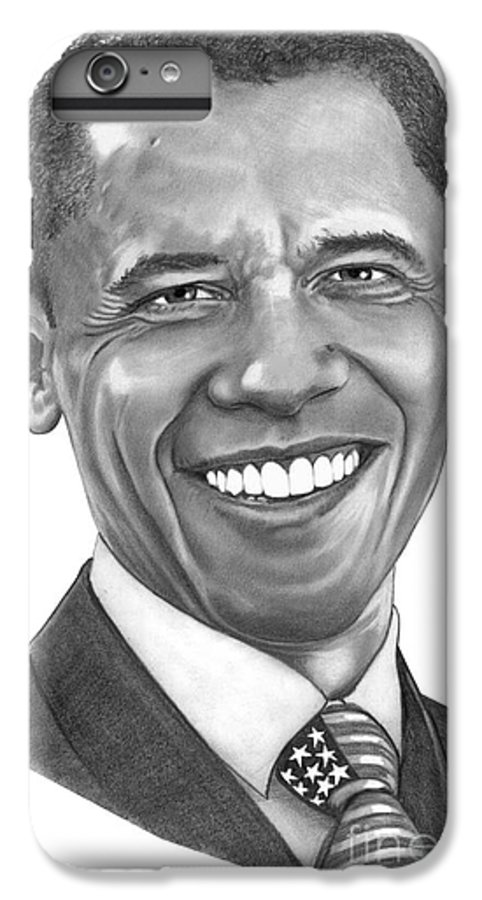 Drawing IPhone 7 Plus Case featuring the drawing President Barack Obama By Murphy Art. Elliott by Murphy Elliott