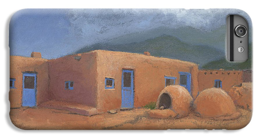 Taos IPhone 7 Plus Case featuring the painting Puertas Azul by Jerry McElroy