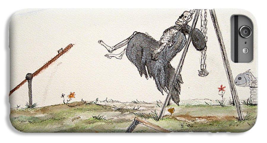 Darkestartist Death Humor Ink Playground Swing Watercolor Watercolour Darkest Artist Pump Harder Seesaw IPhone 7 Plus Case featuring the painting Pump Harder Youll Get There by Darkest Artist