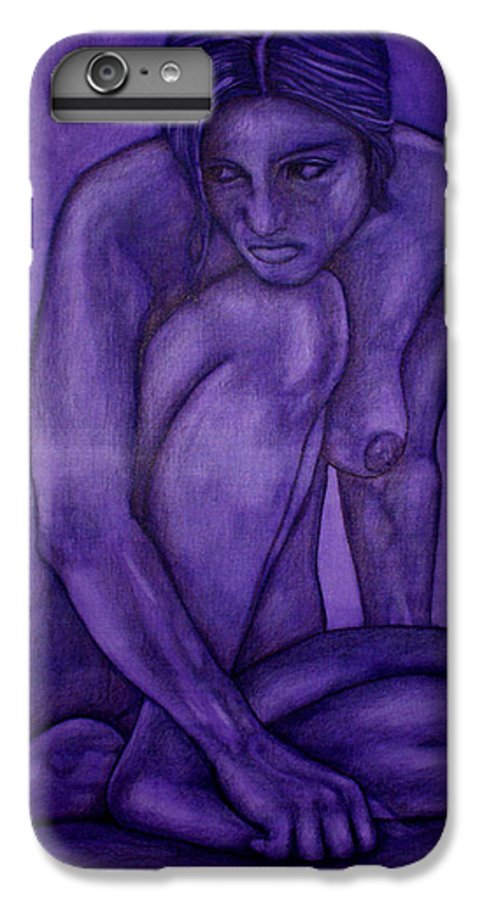 Nude Women IPhone 7 Plus Case featuring the painting Purple by Thomas Valentine